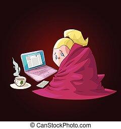 Kartoon krankes Mädchen mit Decke.