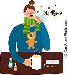 Kartoon krankes Mädchen mit Fieber