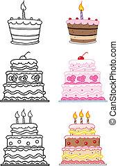 Kartoon-Kuchen setzen Sammlung.