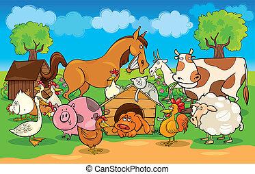Kartoon ländliche Szene mit Bauerntieren.