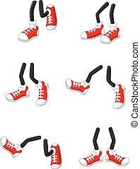 Kartoon laufende Füße auf Stockbeinen.