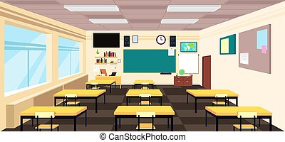 Kartoon leerer Klassenraum, High School Raum mit Schreibtischen und Tafel. Bildungsvektor-Konzept