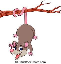 Kartoon lustige Opossum auf einem Baum.