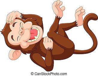 Kartoon lustiger Affe lacht.