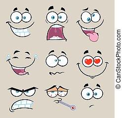 Kartoon lustiges Gesicht mit Ausdruck Set 2. Sammlung