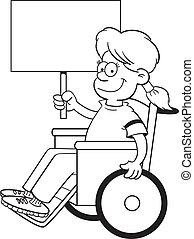 Kartoon-Mädchen im Rollstuhl.