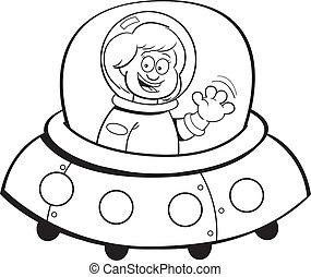 Kartoon-Mädchen in einem Raumschiff (schwarz.