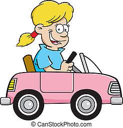 Kartoon-Mädchen in einem Spielzeugauto.