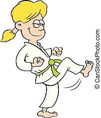 Kartoon-Mädchen in Karate-Uniform.