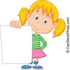 Kartoon-Mädchen mit leerem Papier.