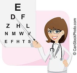 Kartoon-Mädchen-Ophthalmologe mit Diagramm-Test Augen.