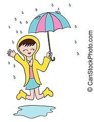 Kartoon-Mädchen spielt im Regen