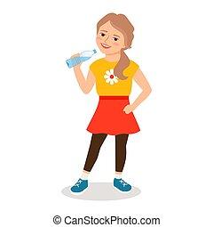 Kartoon-Mädchen trinkt sauberes Wasser