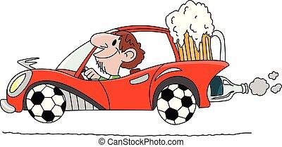 Kartoon-Mann fährt ein Auto mit Rädern aus Fußballbällen und trägt ein großes Glas Bier hinter Vektorgrafik.