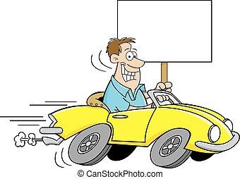 Kartoon-Mann fährt ein Auto und Holdi.