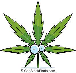 Kartoon Marihuanablatt.