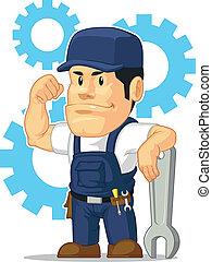 Kartoon mit starkem Mechanikerschlüssel