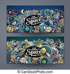 Kartoon niedliche Doodles Hand gezeichnet Raum Banner