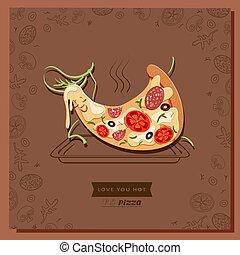 Kartoon Pizza Charakterscheibe