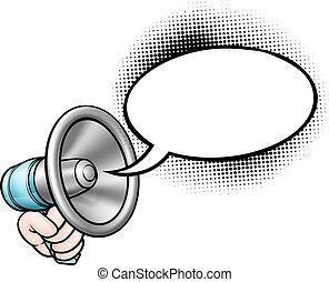 Kartoon-Rede Blas Megaphon.