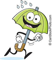 Kartoon Regenschirm läuft.