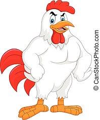 Kartoon-Rooster, isoliert auf weißem Hintergrund.
