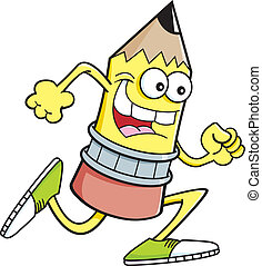 Kartoon Running Bleistift.