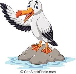 Kartoon süße Albatros winken.