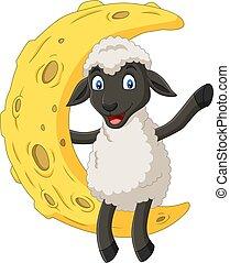 Kartoon süße Schafe sitzen auf dem Mond