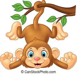 Kartoon süßer Affe hängt am Baum.