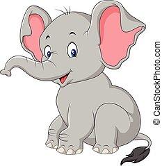 Kartoon süßer Baby-Elefant sitzt.