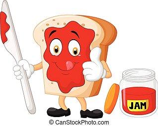 Kartoon Scheibe Brot mit Marmelade Giv.
