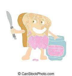 Kartoon Scheibe Brot mit Marmelade