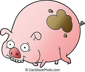 Kartoon schlammiges Schwein.