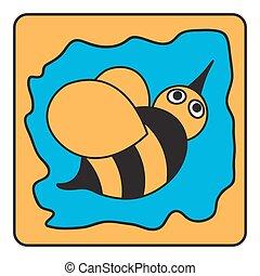 Kartoon schwarzer, oranger Hummelbiene.