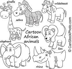 Kartoon skizziert afrikanische Tiere.