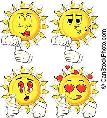 Kartoon-Sonne mit Leerlaufrohr.