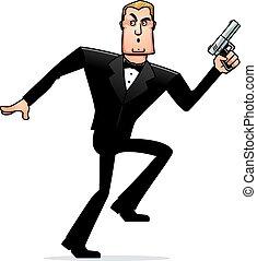 Kartoon-Spion im Smoking.
