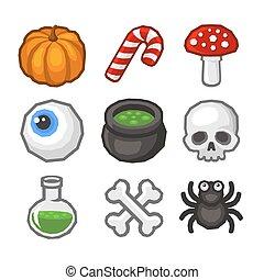 Kartoon Stil Halloween Ikonen Set. Vector