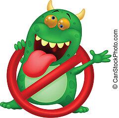 Kartoon Stop Virus - grünes Virus in.