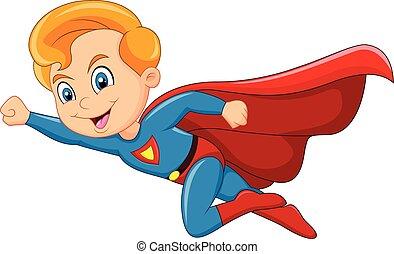 Kartoon Superheldenjunge isoliert.
