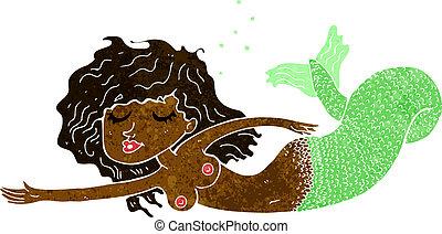 Kartoon topless Meerjungfrau.