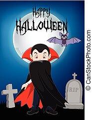 Kartoon Vampir Charakter mit geheiligtem Hintergrund.