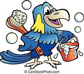 Kartoon Vektor Illustration eines glücklichen Papageienreinigers.