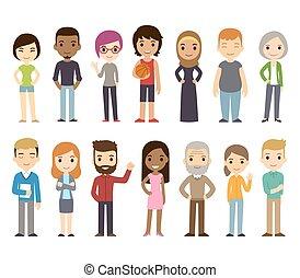 Kartoon verschiedene Leute