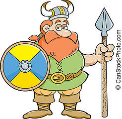 Kartoon viking mit Schild und.