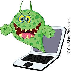 Kartoon-Virus auf Laptop.
