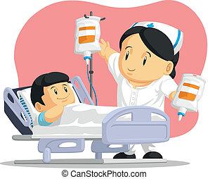 Kartoon von Krankenschwester helfen Patienten