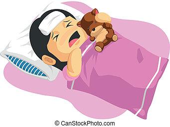 Kartoon von Mädchen mit Fieber