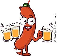 Kartoon-Würste, die Bier servieren. Vector Illustration